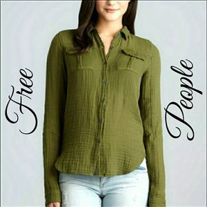 Free People Olive High-Low Long Sleeve Shirt